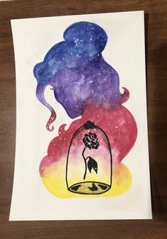 Princess watercolor silhouette-Belle - Galaxy Painting - Step By Step Acrylic Painting Tutorial Disney Princess Paintings, Disney Paintings, Disney Princess Drawings, Watercolor Disney, Watercolor Paintings, Art Drawings Sketches, Disney Drawings, Dibujos Zentangle Art, Disney Canvas Art