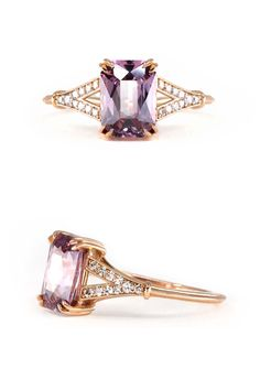 Ready to Ship on Skind.nyc Inspired by our romantic dreams, this recycled rose gold ring is our latest masterpiece! Centered upon an enchanting firey fine master-cut Spinel this gem sparkles with vivid and rich pink and purple flair. The ring is fashioned in a glamorous and romantic Art Deco-inspired split band style.
