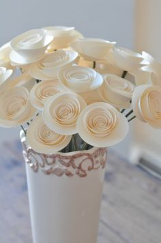 30 Ivory Paper Flowers on Stems- Bouquet of Paper Flowers-  Home Decor by lillesyster on Etsy https://www.etsy.com/listing/205157558/30-ivory-paper-flowers-on-stems-bouquet