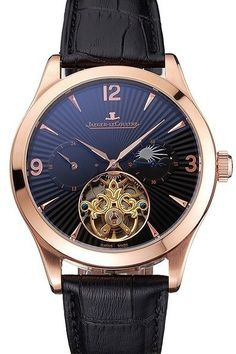 Jaeger LeCoultre Master Moonphase Tourbillon Black Dial Rose Gold Case Black Leather Strap: Movement - Kinetic (Automatic), Quality - Japanese Miyota, Case - 18k rose-gold plated case, Back - Screwed down brushed stainless steel back with Jaeger LeCoultre engravings