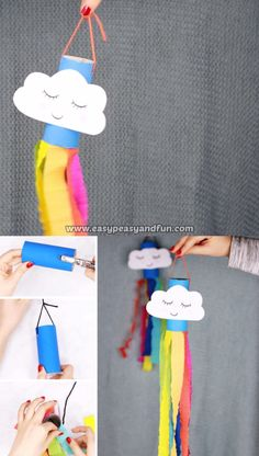 Catch the spring winds with this adorable little rainbow windsock toilet paper r. - kids' crafts - Catch the spring winds with this adorable little rainbow windsock toilet paper roll craft. Toilet Paper Roll Crafts, Easy Paper Crafts, Easy Diy Crafts, Diy Crafts For Kids, Paper Crafting, Fun Crafts, Craft Ideas, Children Crafts, Wood Crafts