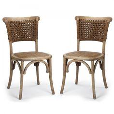 Joveco Antique Vintage Rattan Solid Elm Wood Dining Chair - Set of 2 (Natural) - JCH120   Jovecoinc.com