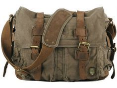 * This military style canvas bag for men and women. * High-End Pre-washed Canvas Bags with leather straps. * Dual leather straps with adjustment buckles, antique finish brass metal buckles * Zipper to
