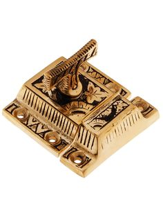 Solid Bronze Oriental Pattern Turn Latch With Highlighted Antique Finish | House of Antique Hardware