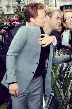 Is it a little bit creepy that I wish I was Chris Hemsworth in this picture? And then could I switch and be Tom Hiddleston? Scratch that, can I be in the middle?