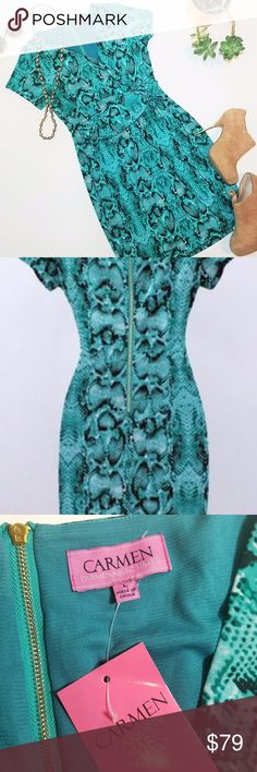 NWT Carmen Marc Valvo Green Snake Faux wrap dress Brand new with tags! Stunning dress featuring a snake like print Turquoise/green/black Gold zipper in back Faux wrap detail Size large Carmen Marc Valvo Dresses
