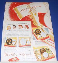 1945 Max Factor Hollywood color harmony make-up sets Christmas Ad