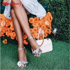 83.90$  Buy here - http://ali6pc.shopchina.info/1/go.php?t=32788206007 - Fashion Style Summer Lilico Appliques Strappy High Heels Women Pumps Shoes Metallic Leather Ankle Strap Floral Leaves Sandals  #magazineonlinewebsite