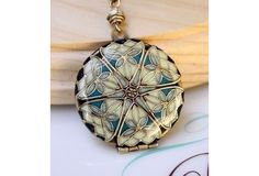 blue dragonfly pattern resin mourning photo locket - classic victorian jewlery