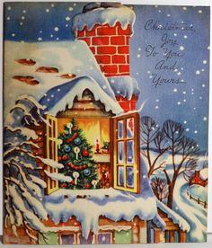 Through the Window  (http://www.ebay.com/itm/40s-Gorgeous-Interior-Through-the-Window-Vintage-Christmas-Card-678-/330842743674?pt=LH_DefaultDomain_0=item4d07c3a37a)