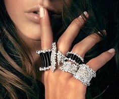 Rosendorff 'Indulgence Collection' Cocktail Rings featuring Brilliant Diamonds and Black Enamel