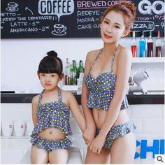 Mother and Daughter Bikini Sets 2016 New Summer Ruffle Swimwear Sexy Swimwear for Women Colorful Dot Swimsuit Family Beach Clothes 024FF