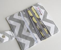 RESERVED for C. R. - Women's Wallet, Gray and Yellow Chevron Bifold Wallet with Rouching, Cottage Chic Wallet - PREORDER. $48.00, via Etsy.