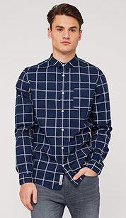 Checked cotton shirt in dark blue