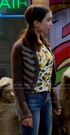 Riley's lemon print top and embroidered jacket on Girl Meets World.  Outfit Details: https://wornontv.net/58655/ #GirlMeetsWorld