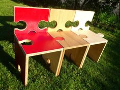 Jigsaw Puzzle Bench Chairs