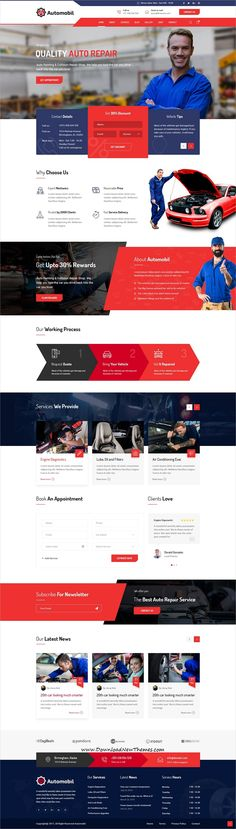 Automobil is a clean and modern design #PSDtemplate for #auto mechanic and #repair #workshop beautiful website with 15 layered PSD files to download & live preview click on image or Visit