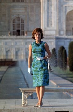American first lady Jacqueline Kennedy posing in front of the historic Taj Mahal, India, 1962, photograph by Arthur Rikerby.