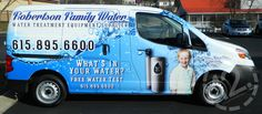 A custom advertising wrap on an NV200 for Robertson Family Water!