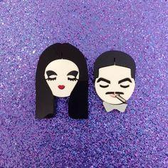 Morticia and Gomez brooch set
