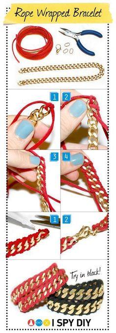 I Spy DIY: [my DIY] rope wrapped chain bracelet by chenbeg Crafts To Do, Diy Crafts, I Spy Diy, Fun Diy, Armband Diy, Bijoux Diy, Crafty Craft, Crafting, Diy Accessories