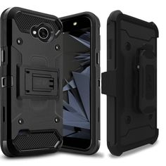 Zizo Tough Armor Holster LG X Power 2 / Fiesta / X charge Case - Black