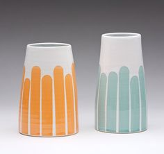 Striped Tall Vase: turquoise or tangerine