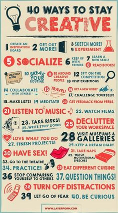 40 Ways to Get and Stay Creative It happens to the best of us. Between…
