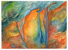 Original Contemporary Abstract Watercolor Ink by AgainstLeGrain, $45.00