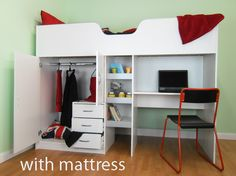 High sleeper bed package, bed and mattress, the ideal cabin bed for children from 6 to teenager.