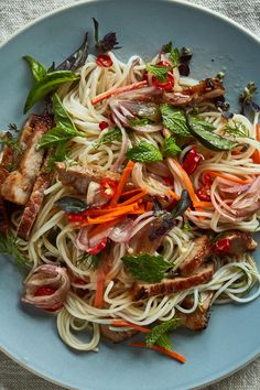 Rice Noodles With Seared Pork, Carrots and Herbs Recipe - NYT Cooking Pork Noodle Soup, Pork Noodles, Rice Noodles, Vermicelli Noodles, Asian Noodles, Herb Recipes, Asian Recipes, Dinner Recipes, Cooking Recipes