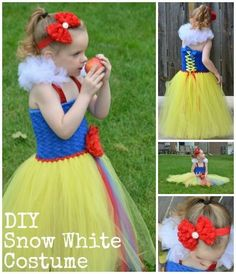 Snow White Costume Tutorial - Detailed Snow White Tutu Dress DIY with supplies source.