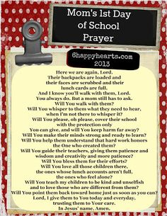 6 Happy Hearts: First Day of School Prayer
