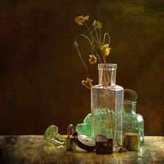 Memories by Hal Halli Still Life Photography, Glass Vase, Perfume Bottles, Memories, Wall Art, Image, Lawn And Garden, Memoirs, Souvenirs