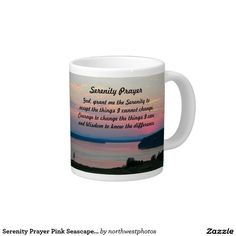 Serenity Prayer Pink Seascape Photo 20 Oz Large Ceramic Coffee Mug