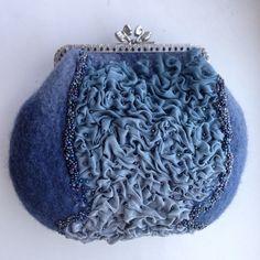 """Купить Валяная мини-сумка """"Летние сумерки"""" - шерсть 100%, сумка валяная, сумка с декором"""