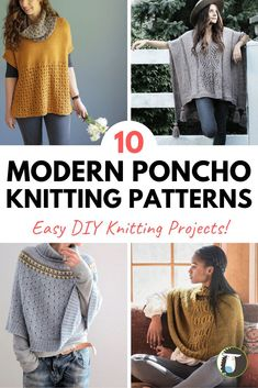 10 Modern Poncho Knitting Patterns - projects include top-down ponchos that are knitted in the round as well as flat construction. Find a project that fits your style! Capelet Knitting Pattern, Sweater Knitting Patterns, Knitted Poncho, Diy Knitting Projects, Knitting Blogs, Loom Knitting, Knitting Ideas, Poncho Outfit, Lion Brand Wool Ease