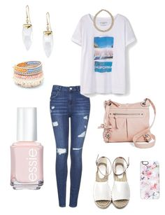 """""""Untitled #319"""" by kmysoccer on Polyvore featuring Topshop, Violeta by Mango, Stella & Dot, Cesca, NAKAMOL, Essie, Blu Bijoux and Casetify"""