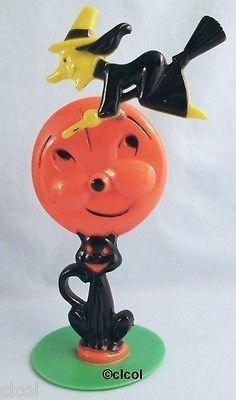 Cute Vintage Plastic Halloween Decoration Pumpkin, Witch On Spring, Cat   #476440384