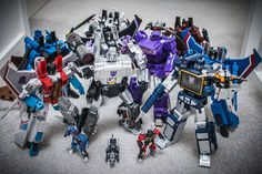 Transformers Masterpiece MP-11 Starscream (Coronation Ver.), MP-11SW Skywarp, Masterpiece Thundercracker, Soundwave, Frenzy, Ravage, Rumble, Laserbeak and Buzzsaw, with iGear PP-03E Elegy, PP-03J Jet and PP-03A Attack, X-Transbots MX-I Apollyon and FansToys Quakewave