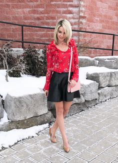Valentine's day outfit idea, red floral ruffle blouse and pink with faux leather