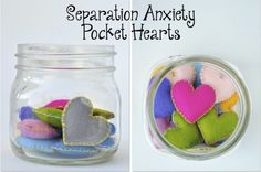 Separation Anxiety Pocket Hearts: Young children often have trouble separating from their caregivers.  It sometimes helps for them to carry transitional objects (ex. a photo) with them to help manage their anxiety during time apart. The caregiver can make these hearts for their child on their own, or the dyad can create them together (Click here for a tutorial).  The hearts can be substituted by any other handmade or personal items the family desires.  Just before each separation the ...