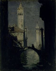 Arthur Streeton (1867-1943), Moonlight, Venice (1908) city of darkness