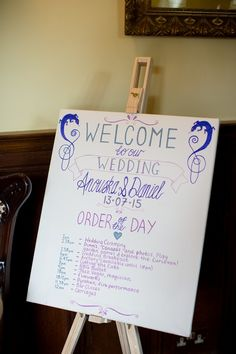 Welcome Sign Natural Ethereal Purple Wedding http://www.katherineashdown.co.uk/