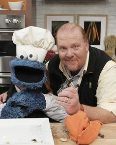 Cookie Monster and Mario Batali #thechew