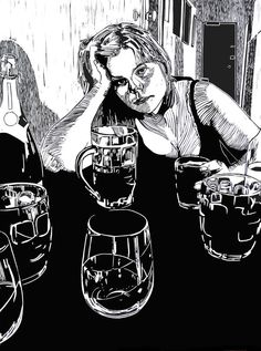"""Eyes Cut Through the Day"" linocut by Mark Rowden. http://www.wingedlionpress.com.au/ Tags: Woman, Beer, Alcohol, Drinking, Linocut, Cut, Print, Linoleum, Lino, Carving, Block, Woodcut, Helen Elstone."