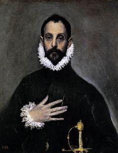"""El Greco, """"Nobleman with his Hand on his Chest"""". Possible self-portrait of El Greco. 1583-85  Museo del Prado, Madrid"""