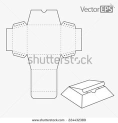 Tray and lid with inclining side panels - stock vector