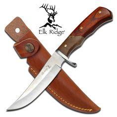 Elk Ridge Outback Sheath Knife Full Tang Sheath Knife 9 5 Overall 4 1 2 Blade Mirror Polished Blade Pakkawood And Burl Wood Handle Includes Leather