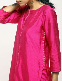 Pink Cotton-Silk Kurta with Pants (Set of Silk Kurti Designs, Churidar Designs, Kurta Designs Women, Kurti Designs Party Wear, Gharara Designs, Kurti Sleeves Design, Kurta Neck Design, Dress Neck Designs, Blouse Designs